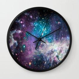 Lavender Teal Star Nursery Wall Clock