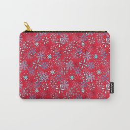 Snowflakes Falling in Cherry Red, Christmas and Holiday Fantasy Collection Carry-All Pouch