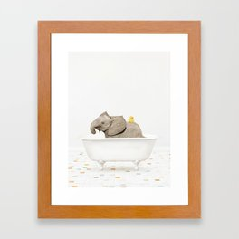 Baby Elephant with Rubber Ducky in Vintage Bathtub Framed Art Print
