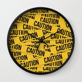 Caution Wall Clock