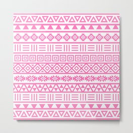Aztec Influence Pattern Pink on White Metal Print