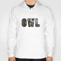 font Hoodies featuring Font Owl by Jinzha Bloodrose