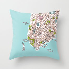 Fun New York City Manhattan street map illustration Throw Pillow