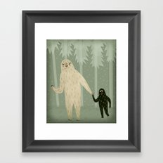 Sasquatch and Her Son Framed Art Print