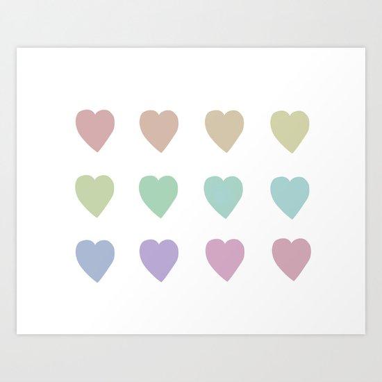 Pastel Hearts Art Print