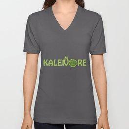 Kaleivore Kale Art for Vegans, Vegetarians Dark Unisex V-Neck