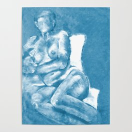 Lounging in Blue Poster