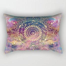 Gold watercolor and nebula mandala Rectangular Pillow