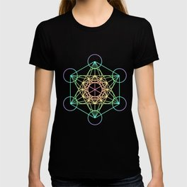 Metatron's Cube- Rainbow on Black T-shirt