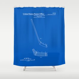 Hockey Stick Patent - Blueprint Shower Curtain