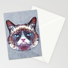 abstract grouchy cat Stationery Cards