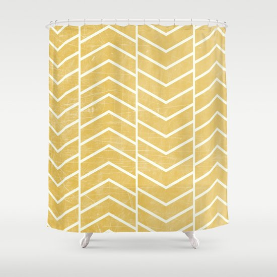 Yellow Chevron Shower Curtain By Zeke Tucker Society6