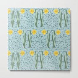 Daffodil Field Sky Blue Metal Print