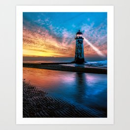 Light House Sunset Art Print