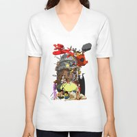 calcifer V-neck T-shirts featuring Studio of Dreams by CromMorc