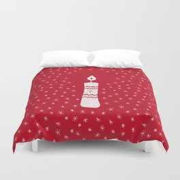 Christmas candle with sparkling stars on red Duvet Cover