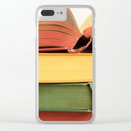 Vintage Book Stack Clear iPhone Case