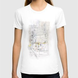 The reflection of a big city T-shirt