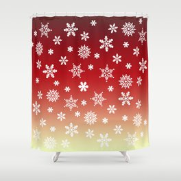 Snow Flurries-Red/Cream Ombre Shower Curtain