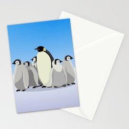 Penguin mom and children Stationery Cards