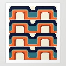 Mid-Century Modern Meets 1970s Orange & Blue Art Print