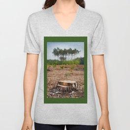 Woods logging one stump after deforestation Unisex V-Neck