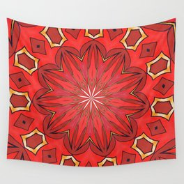 Shades of Red Bold Kaleidoscope Pattern Wall Tapestry