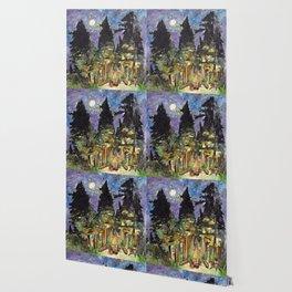 Campfire Under a Full Moon Wallpaper
