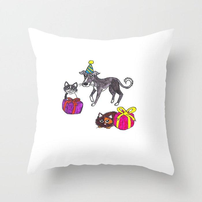Pet party Throw Pillow