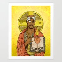 tupac Art Prints featuring Tupac by GRZNYC