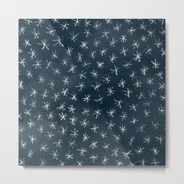 Winter Snowflakes in Midnight Blue Metal Print