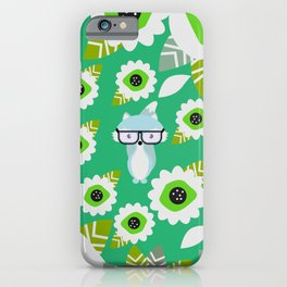 Little fox and strange flowers in green iPhone Case