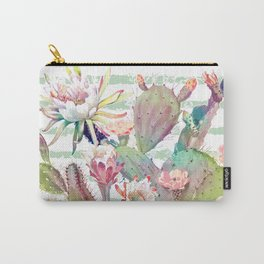 Watercolor cactus, floral and stripes design Carry-All Pouch