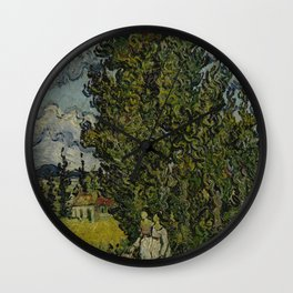 Cypresses and Two Women Wall Clock