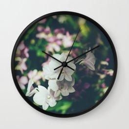 White Hawaiian Flowers Wall Clock