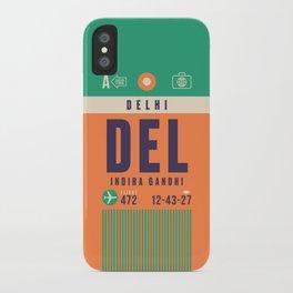 Retro Airline Luggage Tag - DEL Delhi India iPhone Case