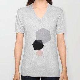 Black Grey Pink Geometric Hexagon Unisex V-Neck