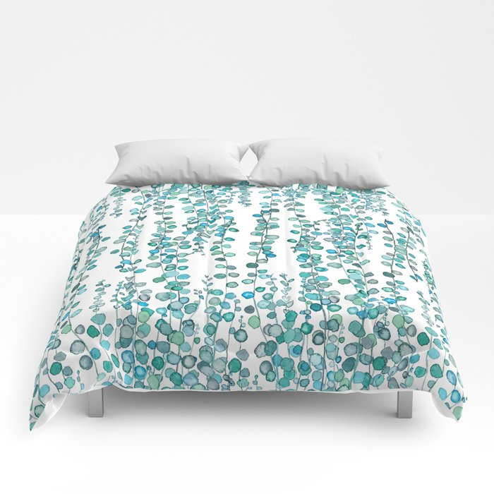 string of pearl watercolor Comforters