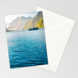 Morning sun glow and dolphins at Milford Sound Stationery Cards