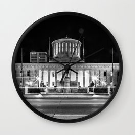 Columbus State House Long Exposure Wall Clock