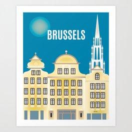 Brussels, Belgium - Skyline Illustration by Loose Petals Art Print