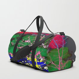 tree branch with leaf and painting texture abstract background in red green blue pink yellow Duffle Bag