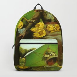Spectacular 'Yellow Lotus Lilies' Floral Lily Pond portrait painting Charles Courtney Curran Backpack