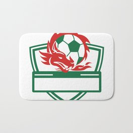 Red Dragon Soccer Ball Crest Bath Mat