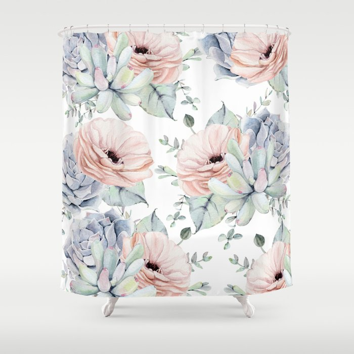 Pretty Succulents by Nature Magick Shower Curtain