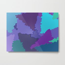 Blues and Purples Puzzle Patchwork Metal Print