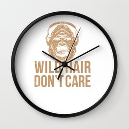Wild Hair Don't Care Distressed Gorilla Design for Ape Lovers Wall Clock