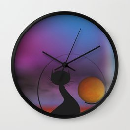 window curtains - mooncats moonrise Wall Clock