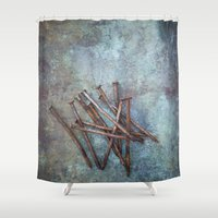 tool Shower Curtains featuring a bunch of nails by Maria Heyens