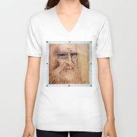 da vinci V-neck T-shirts featuring Leonardo Da Vinci by Michael Cu Fua